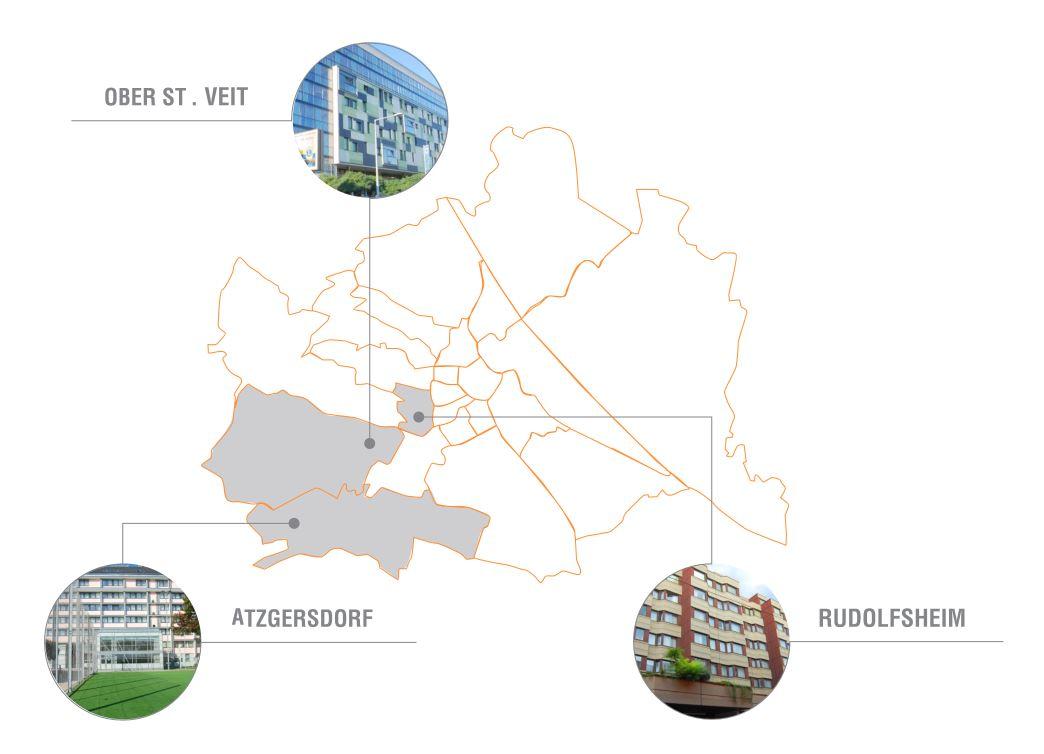 Wien-Karte mit Standorten von STARTPLATZ Wien