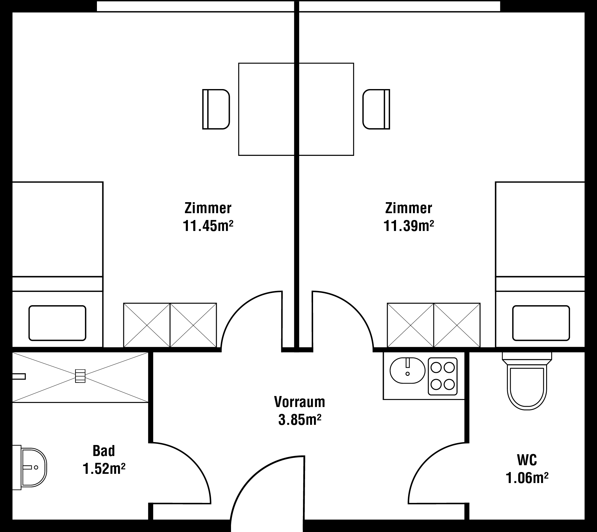 Grundriss Zweiraum-Zimmer