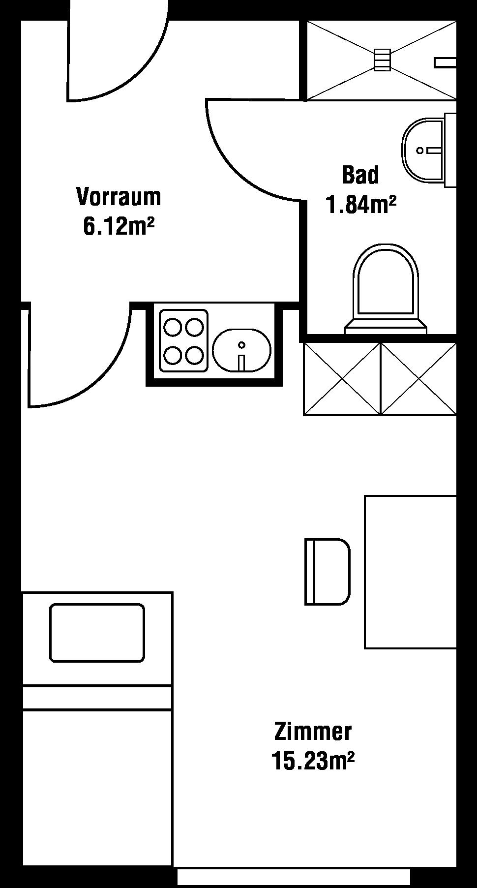Grundriss Einraum-Garconniere
