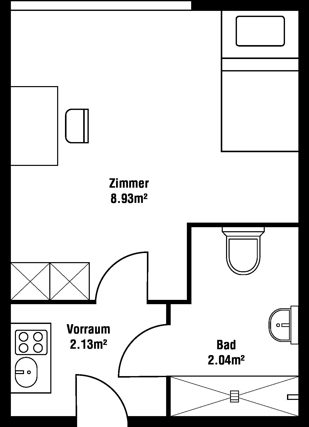 Grundriss Einbett-Zimmer
