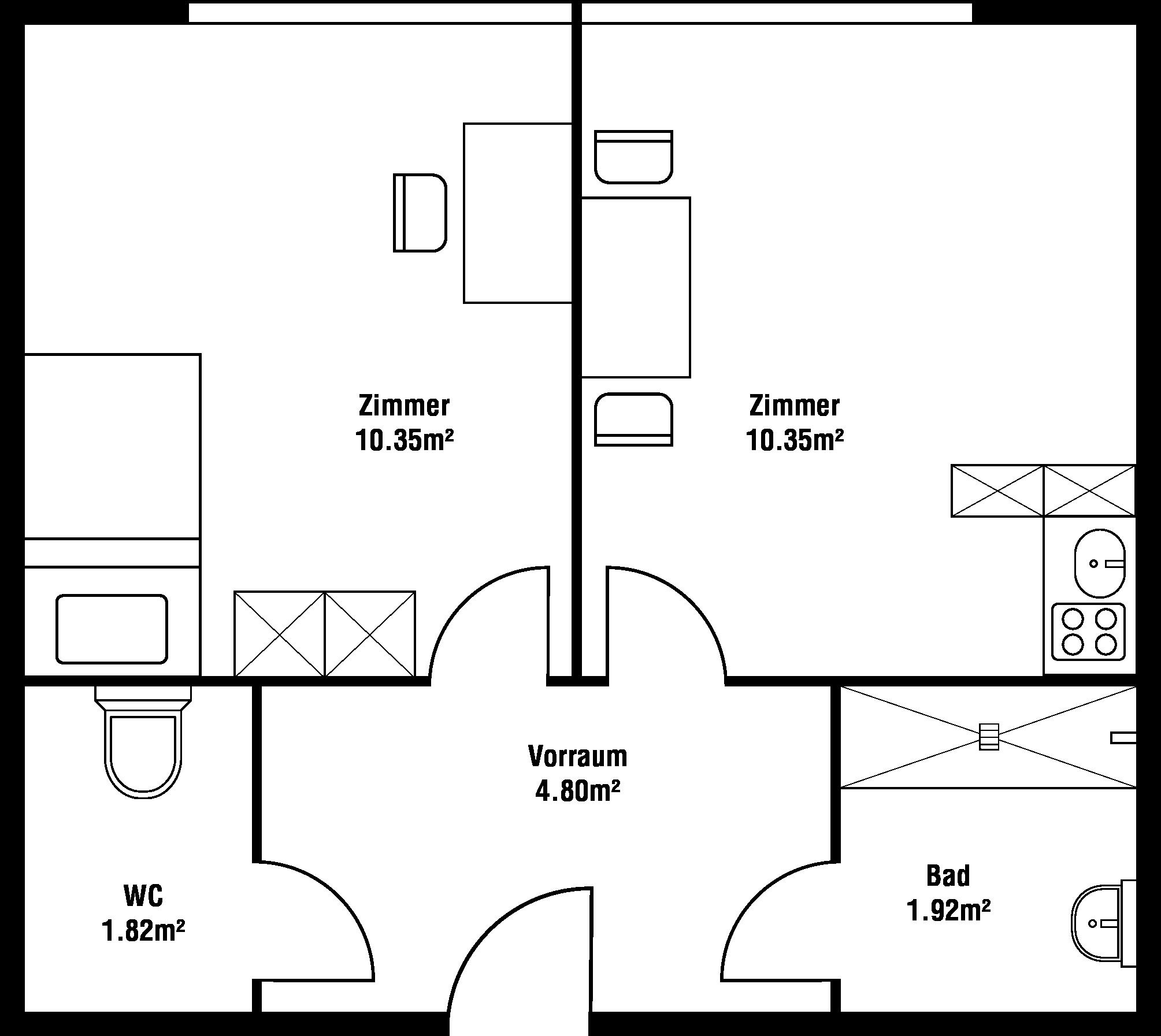 Grundriss Zweibett-Zimmer