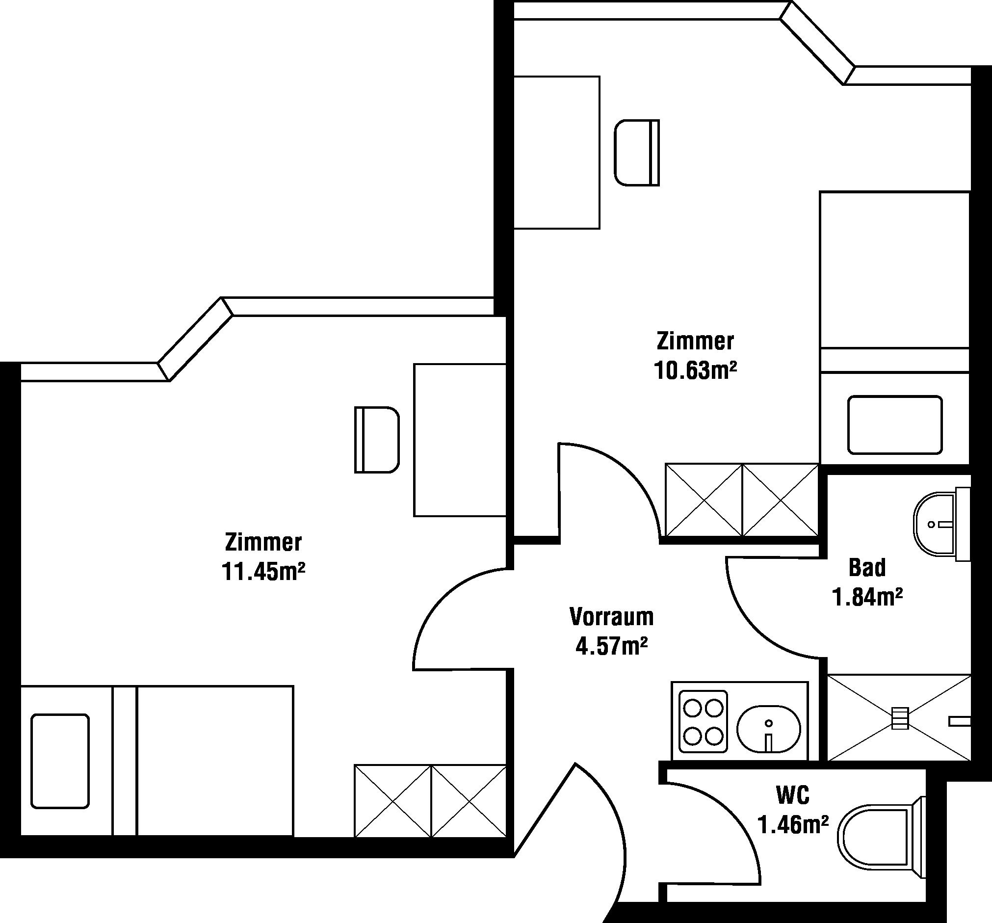 Grundriss Zweiraum-Garconniere